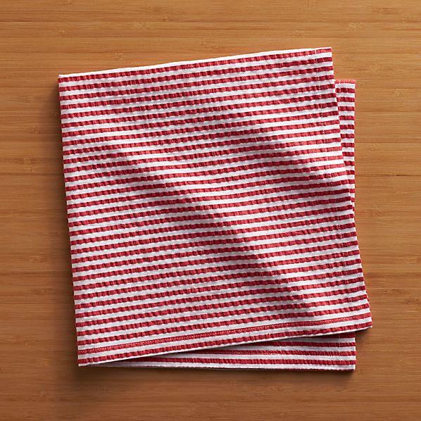 Seersucker Red Napkin