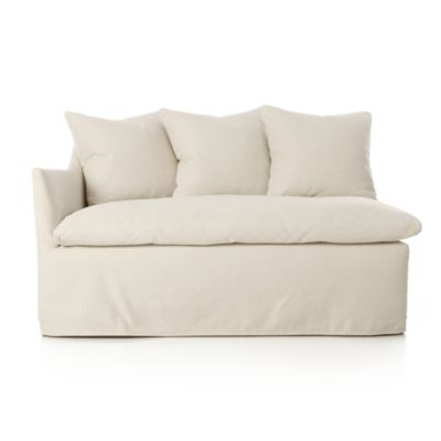 Serene Slipcovered Left Arm Love Seat