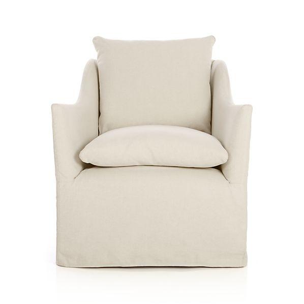 Serene Slipcovered Swivel Chair