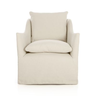 Serene Slipcovered Swivel Chair