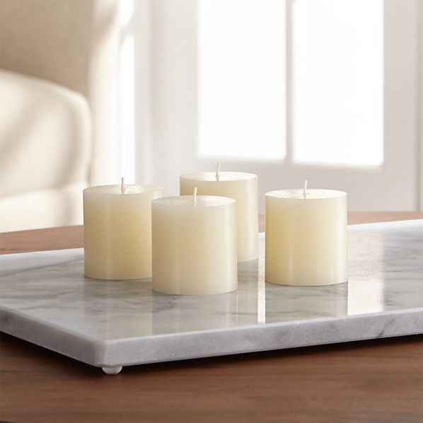 Set of 4 Mini Ivory Pillar Candles