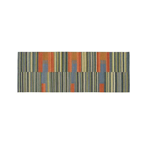 Sharif Striped Wool Dhurrie 2.5'x7' Rug Runner