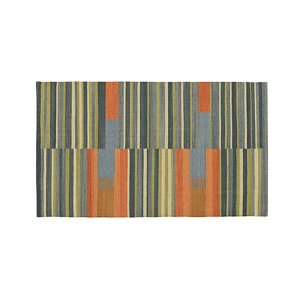 Sharif Striped Wool Dhurrie 3'x5' Rug