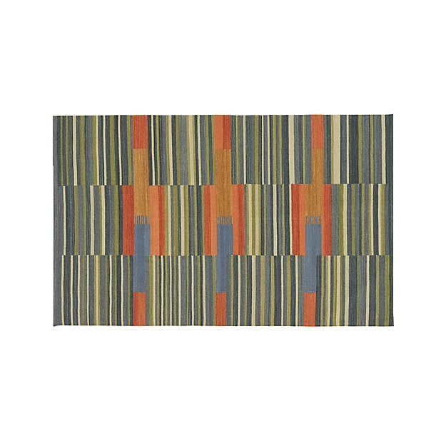 Sharif Striped Wool Dhurrie 5'x8' Rug