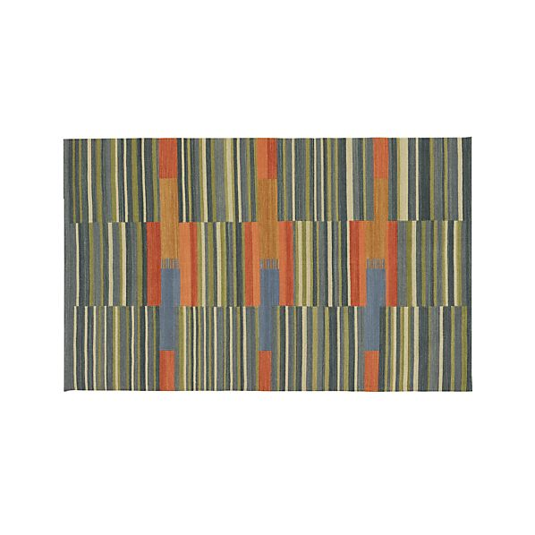 Sharif Striped Wool Dhurrie 5'x8' Rug