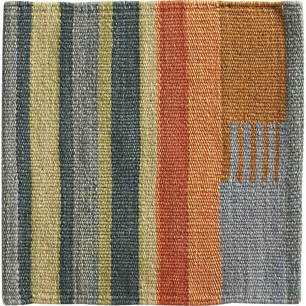 "Sharif Striped Wool Dhurrie 12"" sq. Rug Swatch"