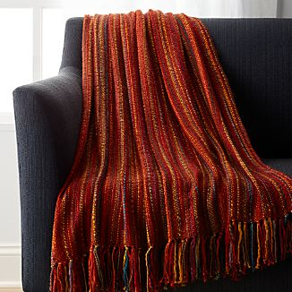 Shelby Rust Orange Striped Throw