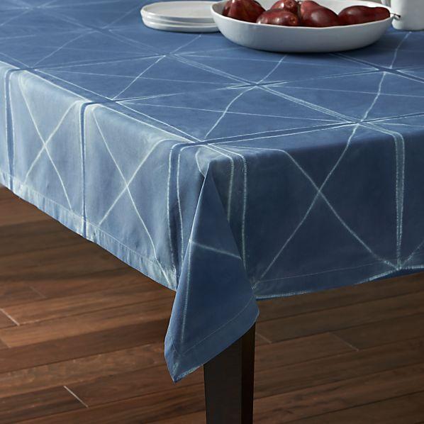 "Shibori Blue 60""x120"" Tablecloth"