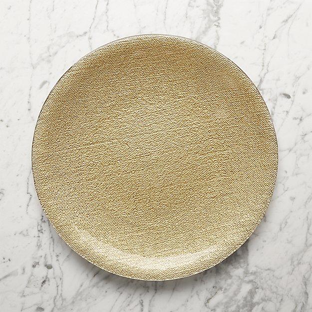 Shimmer Gold Glass Platter-Charger Plate