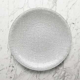 Shimmer Silver Glass Platter-Charger Plate