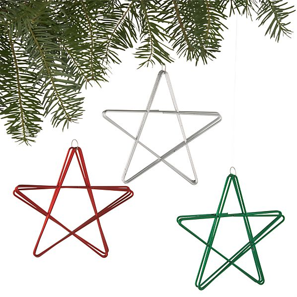 Set of 3 Shiny Metal Star Ornaments Set of Three