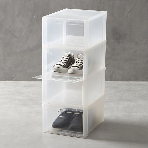 Set of 4 Large Clear Shoe Boxes