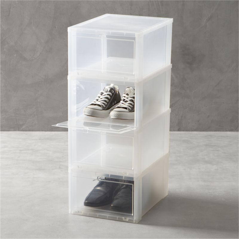 Drop-front shoe boxes stack several pairs within easy reach while maximizing storage space. Large box is perfect for men's shoes, women's boots, bags or purses.<br /><br /><NEWTAG/><ul><li>Polypropylene</li><li>Made in USA</li></ul>