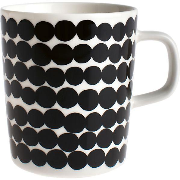 Marimekko Siirtolapuutarha Räsymatto Black and White Mug