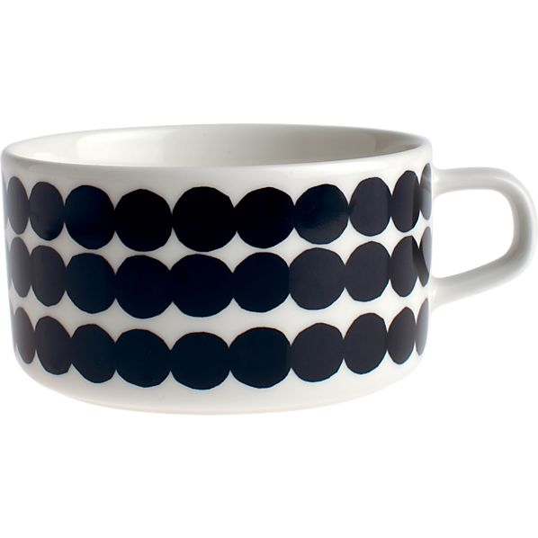 Marimekko Siirtolapuutarha Räsymatto Black and White Teacup