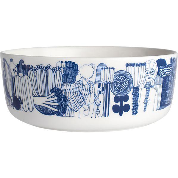 "Marimekko Siirtolapuutarha Blue and White 8"" Bowl"
