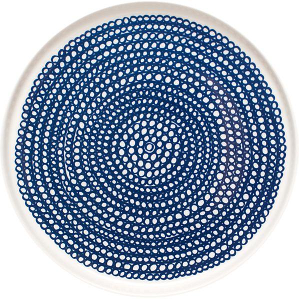 """Marimekko Siirtolapuutarha Blue and White 8"""" Plate"""