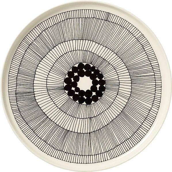 """Marimekko Siirtolapuutarha Black and White 10"""" Plate"""