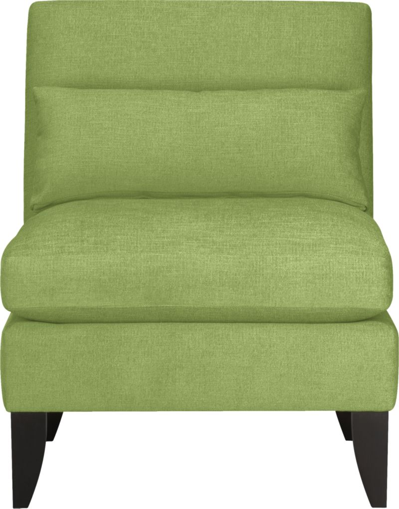"Ever so proper armless chair winks at tradition with a fresh colors and playful new proportions. Tight back with subtle curves, punctuated with eye-catching corner base miters.<br /><br />After you place your order, we will send a fabric swatch via next day air for your final approval. We will contact you to verify both your receipt and approval of the fabric swatch before finalizing your order.<br /><br /><NEWTAG/><ul><li>Eco-friendly construction</li><li>Certified sustainable kiln-dried hardwood frame</li><li>Seat cushions are soy-based polyfoam with feather-down blend encased in downproof ticking</li><li>Tight back is soy-based polyfoam</li><li>Includes 25""x10"" down-blend pillow</li><li>Sinuous wire spring suspension</li><li>Polyester-rayon fabric with top-stitching</li><li>Mocha-stained hardwood legs</li><li>Benchmade</li><li>See additional frame options below</li><li>Made in North Carolina, USA of domestic and imported materials</li></ul><br />"