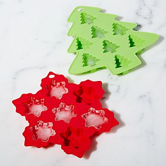 Silicone Holiday Ice Trays Set of Two