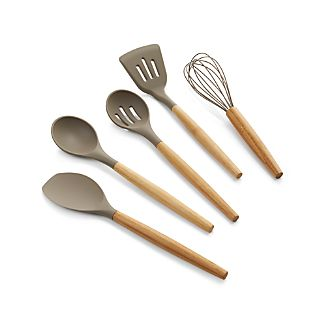 Silicone Utensils with Bamboo Handle