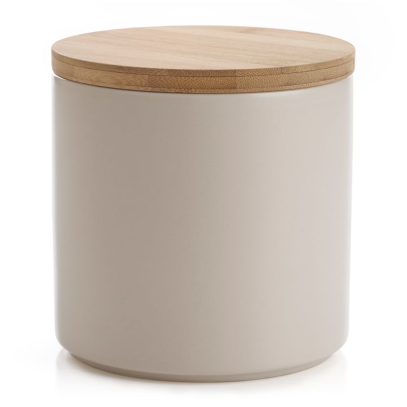 Clean, contemporary styling in durable stoneware, warmed by a deep dove grey glaze and natural bamboo lid. Silicone lid gasket forms a tight seal, locking in freshness and locking out moisture. Stackable canisters store staples in style on the countertop or pantry.<br /><br /><NEWTAG/><ul><li>Stoneware</li><li>Matte glaze finish</li><li>Bamboo lid with silicone gasket</li><li>BPA-free</li><li>Canister is dishwasher-safe</li><li>Hand wash the bamboo lid</li><li>Bamboo lid will darken over time</li><li>Made in China</li></ul>