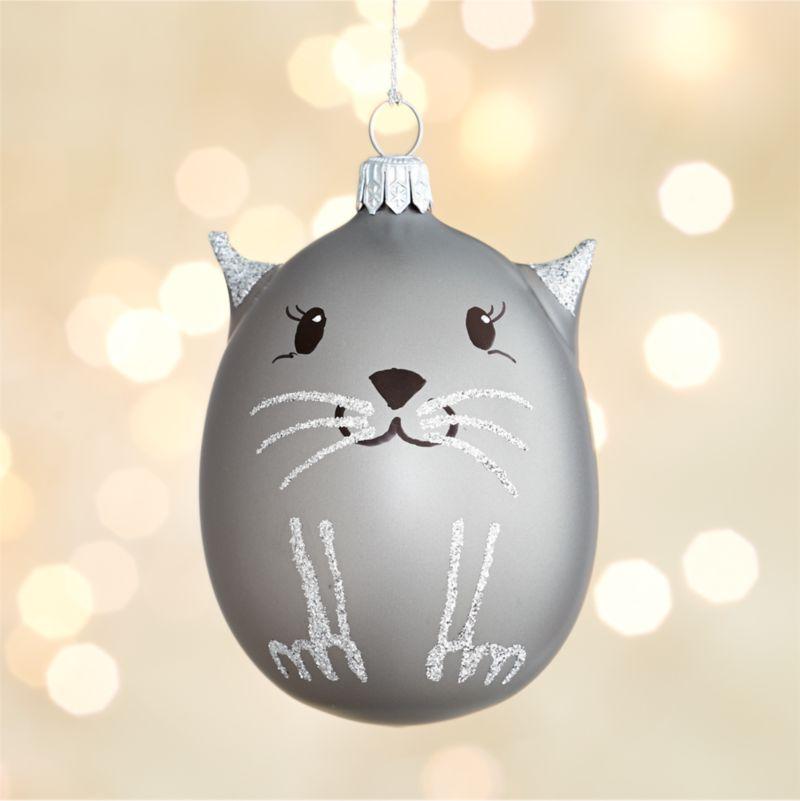 Silver Cat Glass Ornament