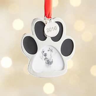 Silver Paw Print Photo Frame Ornament with 2016 Charm