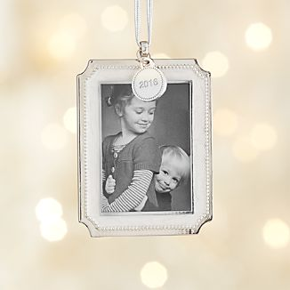 Silver Pearl Photo Frame Ornament with 2016 Charm