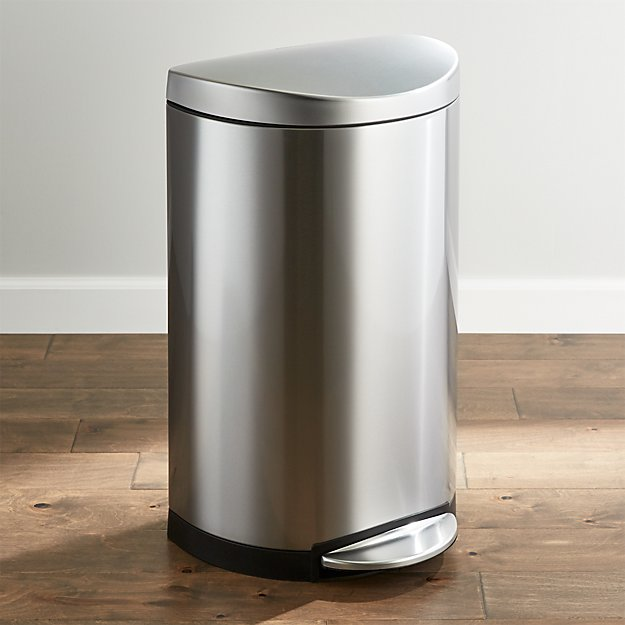 simplehuman 40 liter 10 5 gallon deluxe semi round trash can crate and barrel. Black Bedroom Furniture Sets. Home Design Ideas