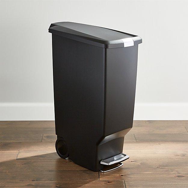 simplehuman black 40 liter 10 5 gallon slim trash can crate and barrel. Black Bedroom Furniture Sets. Home Design Ideas