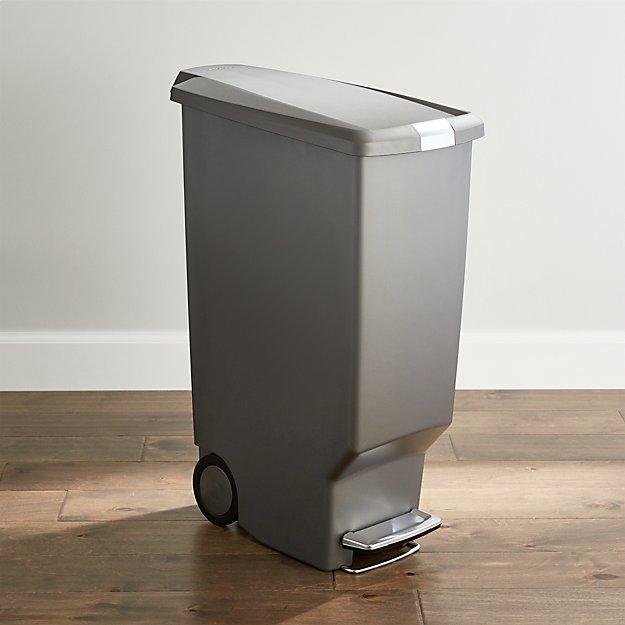 simplehuman grey 40 liter 10 5 gallon slim trash can crate and barrel. Black Bedroom Furniture Sets. Home Design Ideas