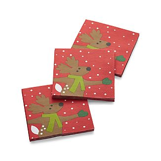 Skating Reindeer Paper Beverage Napkins Set of 20