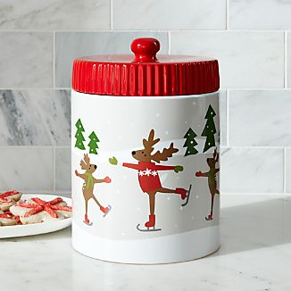 Skating Reindeer Cookie Jar