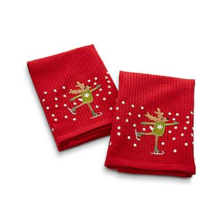 Skating Reindeer Waffle Weave Dish Cloths Set of Two