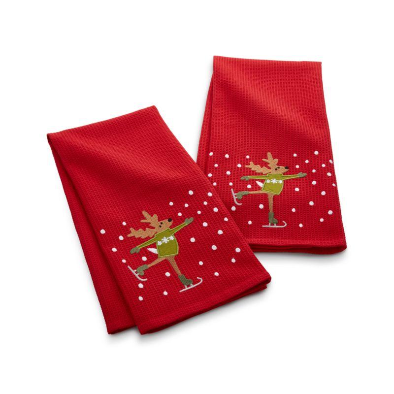 Skating Reindeer Waffle Weave Dish Towels Set of Two