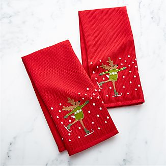 Skating Reindeer Waffle Weave Dish Towels Set of Two