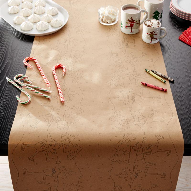 Skating Reindeer Paper Table Runner