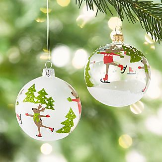 Skating Reindeer Ball Ornaments