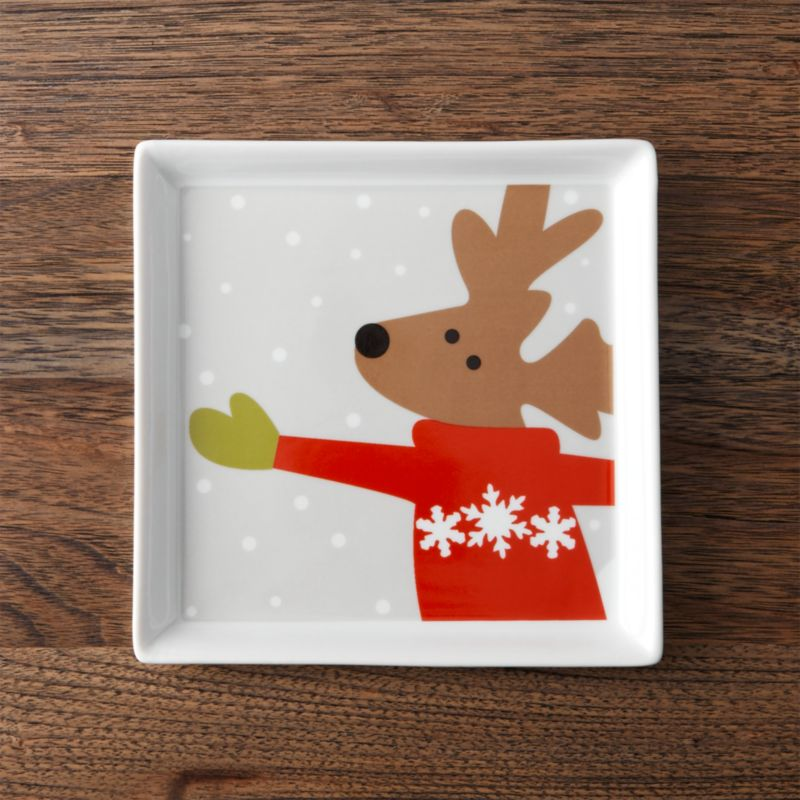 Skating Reindeer Appetizer Plate