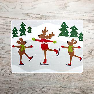 Skating Reindeer Vinyl Placemat