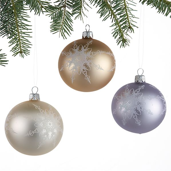 Set of 3 Sketch Snowflake Ball Ornaments