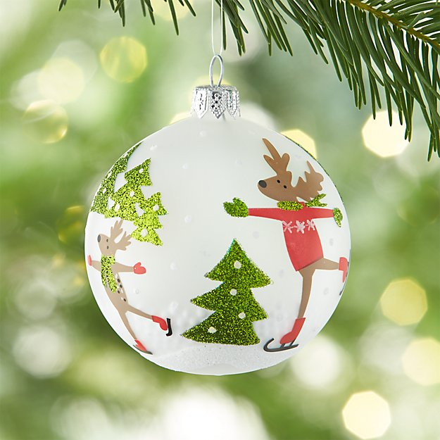 Skating Reindeer with Snow Frosted Glass Ball Ornament
