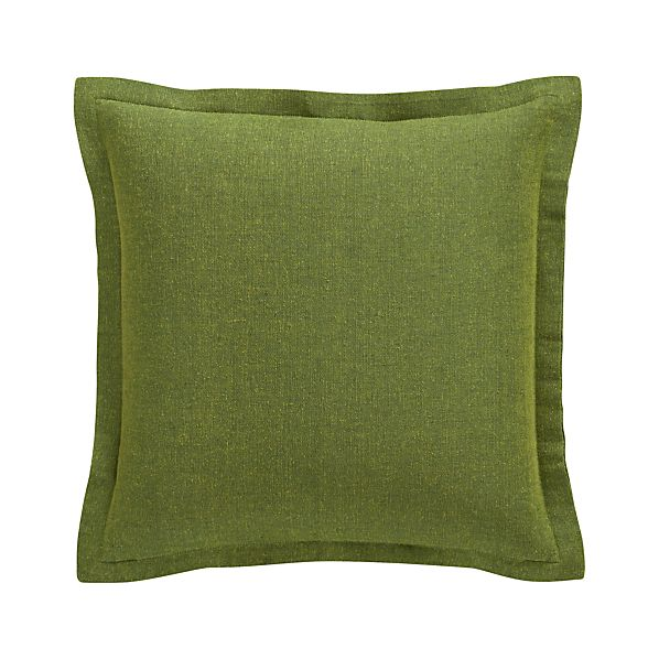 "Skylar Green 18"" Pillow with Feather-Down Insert"
