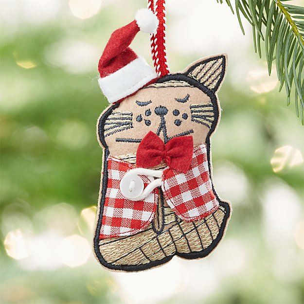 Sleepy Cat with Buffalo Check Vest Ornament