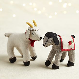 Sleepy Goat and Lamb Felt Ornaments