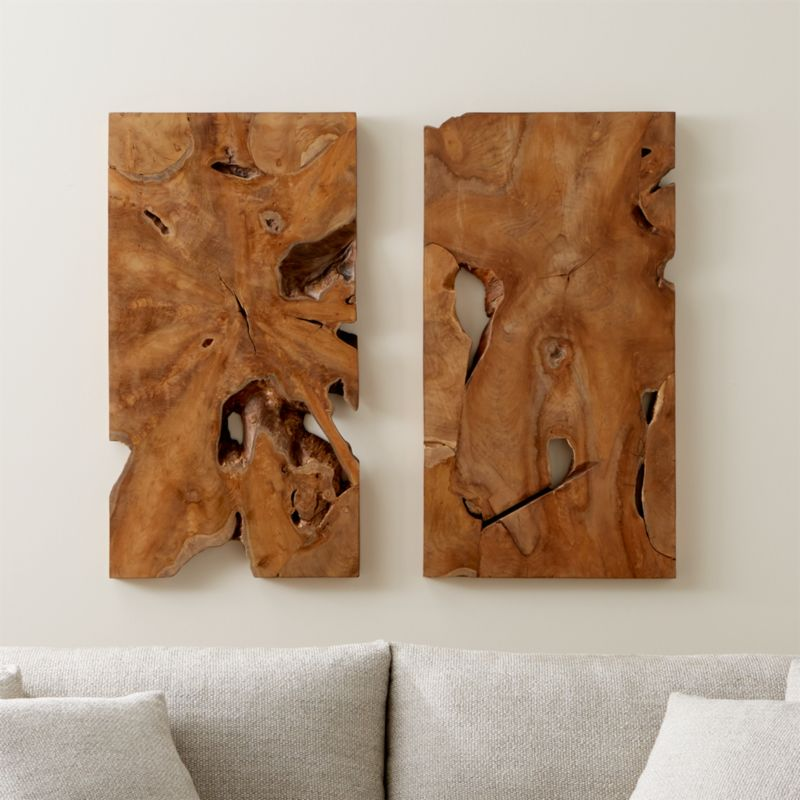 Slice Teak Wall Art Set of Two | Crate and Barrel