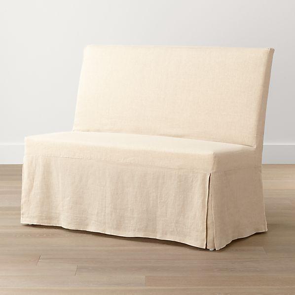 Slip Bench with Linen Slipcover