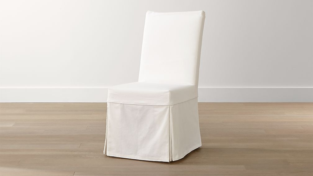 Slip white slipcovered dining chair crate and barrel - Crate and barrel parsons chair ...