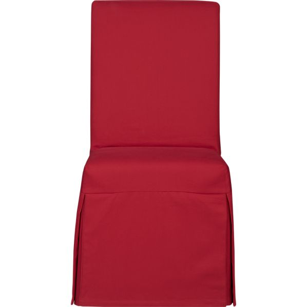Slip Side Chair with Red Slipcover with Sash